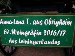 Schild für Lena´s Kutsche